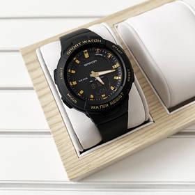 Часы Sanda 6005 Black-Gold, Спортивные,  Женские-Мужские,  Каучуковый ремешок