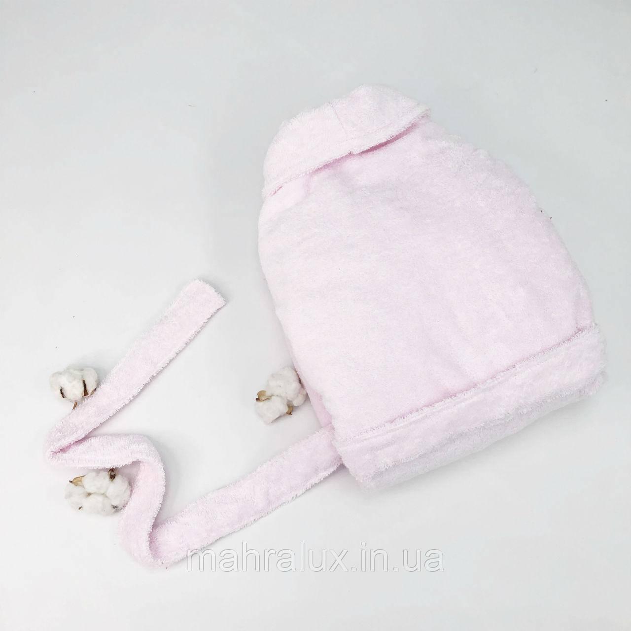 Домашний махровый халат нежно-розовый