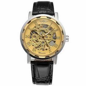 Часы Winner 8012С Black-Silver-Gold (виннер скелетон) Мужские,  Черный ремешок