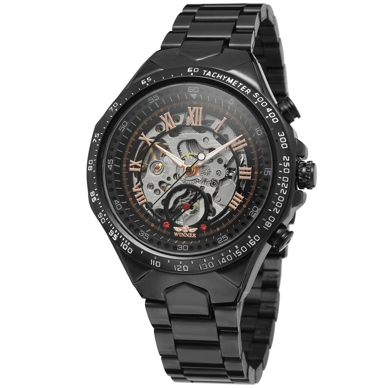 Годинники Winner (Віннер скелетон) 8067 Black-Silver-Red Cristal, Чоловічі, Сталевий браслет