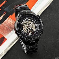 Годинники Winner (Віннер скелетон) 8067 Black-Silver-Red Cristal, Чоловічі, Сталевий браслет, фото 2