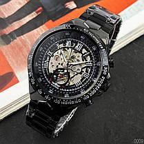 Годинники Winner (Віннер скелетон) 8067 Black-Silver-Red Cristal, Чоловічі, Сталевий браслет, фото 3