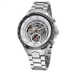 Часы Winner (виннер скелетон) 8067 Silver-Black-White Red Cristal, Мужские, Стальной браслет