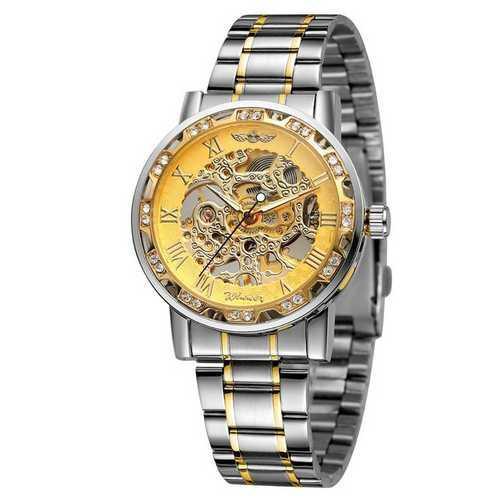 Годинники Winner (Віннер скелетон) 8012 Diamonds Automatic Silver-Gold, Чоловічі, Сталевий браслет