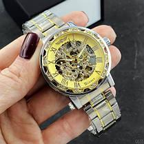 Годинники Winner (Віннер скелетон) 8012 Diamonds Automatic Silver-Gold, Чоловічі, Сталевий браслет, фото 2