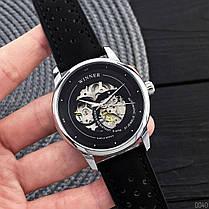 Годинники Winner (Віннер скелетон) 339 Silver-Black, Чоловічі, Чорний ремінець, фото 3