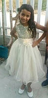 Шикарное пышное детское нарядное платье на девочку  (бежевое,кремовое)