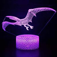 3D Світильник нічник 3D Лампа — Динозавр Птеродактиль (з пультом управління), фото 1