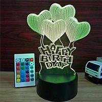 3D Светильник ночник 3D Лампа — Сердца С днем рождения (с пультом управления), фото 1