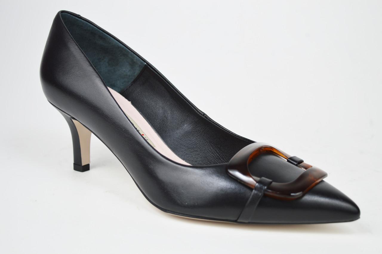 Туфельки на низькому каблуці Bravo Moda 1902 Чорні шкіра 40