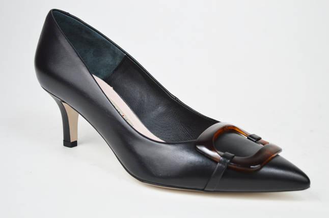 Туфельки на низькому каблуці Bravo Moda 1902 Чорні шкіра 40, фото 2
