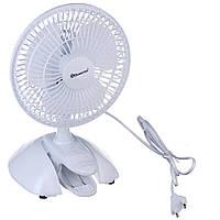 Маленький настольный вентилятор на прищепке, Domotec MS-1623, бытовой вентилятор для стола