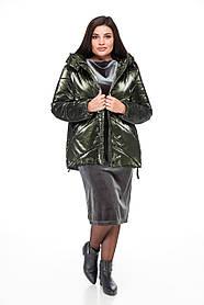 Модная женская куртка-пуховик зелёного цвета, оверсайз 42-50