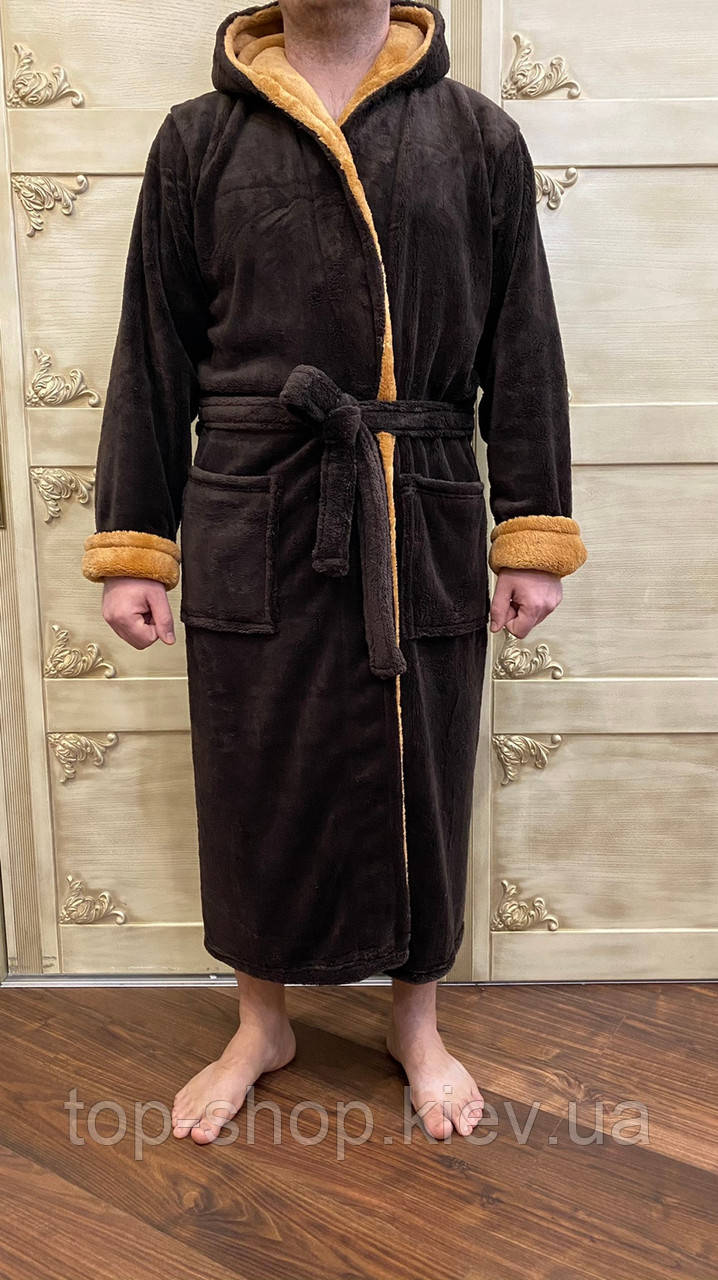 Мужской махровый халат банный коричневый размер L,XL,XXL,XXXL