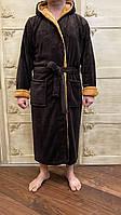 Мужской махровый халат банный коричневый размер L,XL,XXL,XXXL, фото 1