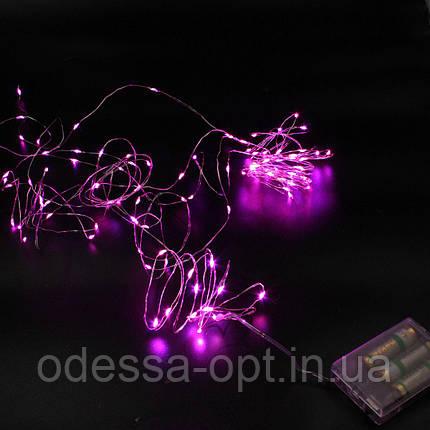 Xmas гирлянд 200 Led (Copper) на медной проволоке (Капля росы) P Розоваяот батареек, фото 2