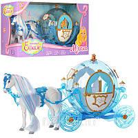 Игрушечная Карета с лошадью и куклой 216B Свет, звук, лошадь ходит, на батарейках.