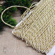 Нейлоновый шнур с люрексом 3 мм, белый с золотым