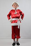 Карнавальный костюм из атласа для мальчика Новый год красный, для 3-4, 5-6 и 7-8 лет