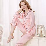 Шелковая женская пижама атласная рубашка и брюки Nimfeya  комплект для дома и сна (размер XS S M XL XXL), фото 3