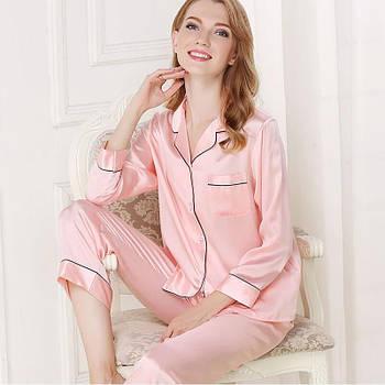 Шелковая женская пижама атласная рубашка и брюки Nimfeya  комплект для дома и сна (размер XS S M XL XXL)
