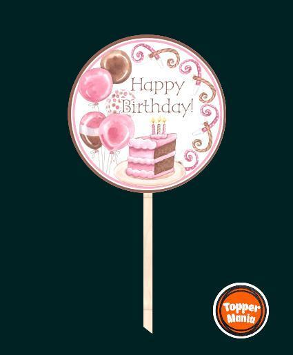 Топпер з принтом Happy Birthday на дерев'яній основі | Двосторонній топпер | Круглий топпер Happy Birthday #4