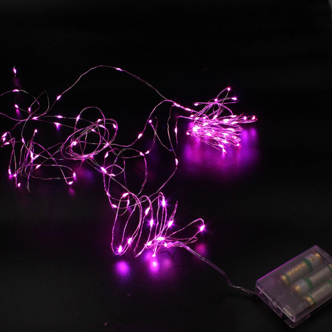 Xmas гірлянд 200 Led (Copper) на мідному дроті (Крапля роси) P Розоваяот батарейок