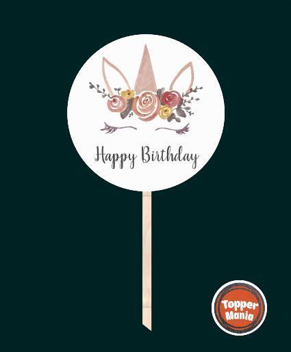 Топпер з принтом Happy Birthday на дерев'яній основі   Двосторонній топпер   Круглий топпер Happy Birthday #8