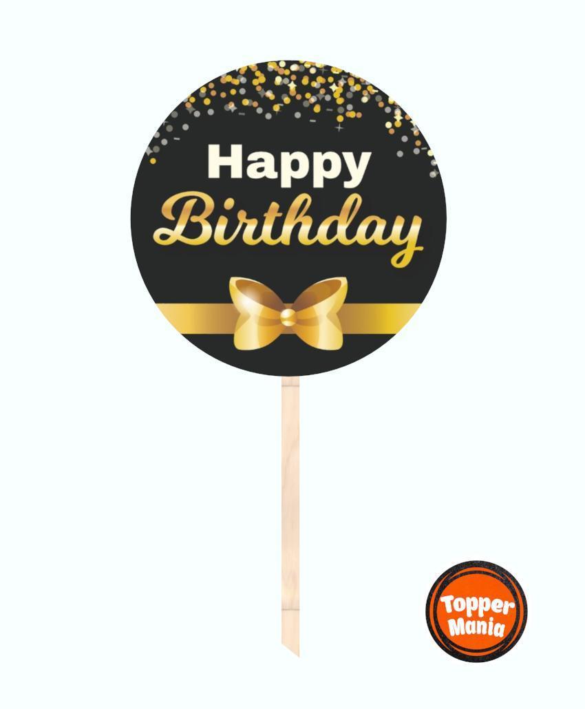 Топпер с принтом Happy Birthday на деревянной основе   Двухсторонний топпер   Круглый топпер Happy Birthday 17