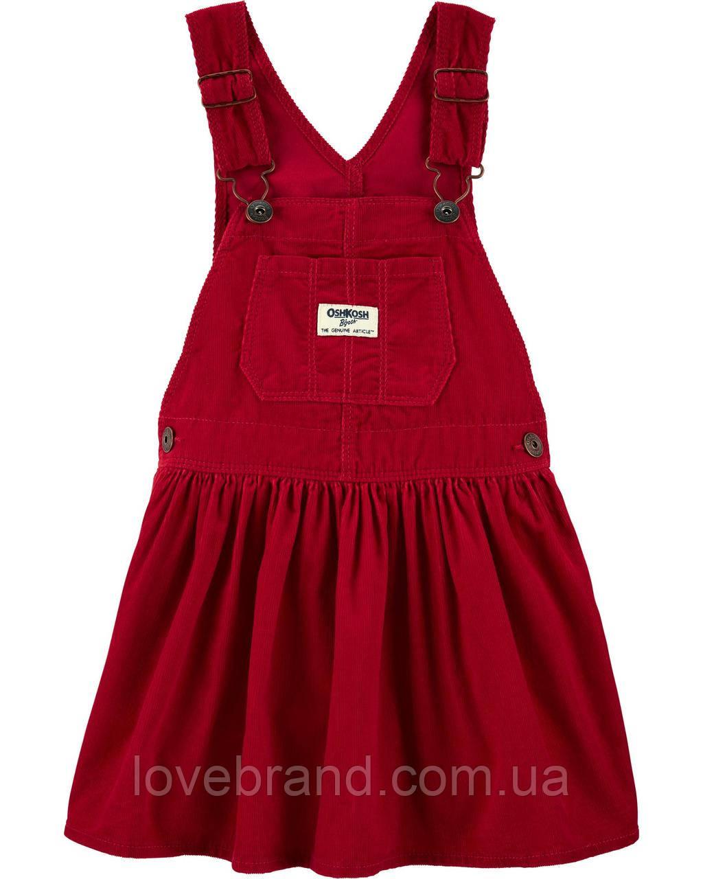 Вельветовый сарафанчик для девочки OshKosh красный (ошкош)