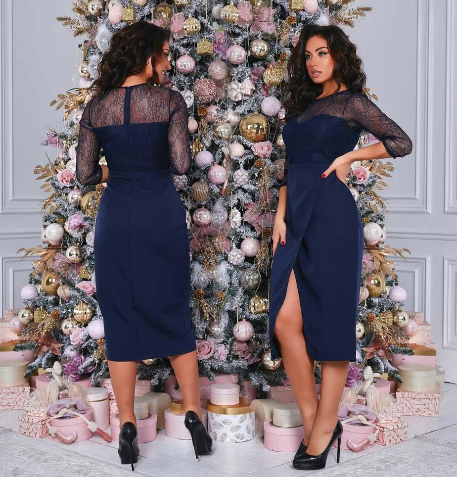 """Ошатне жіноче плаття в батальних розмірах """"Розріз Кокетка Мереживо"""" в кольорах (014-4136-1)"""