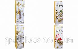 Новогодние пакеты для бутылки с глиттером 12шт (4 вида)