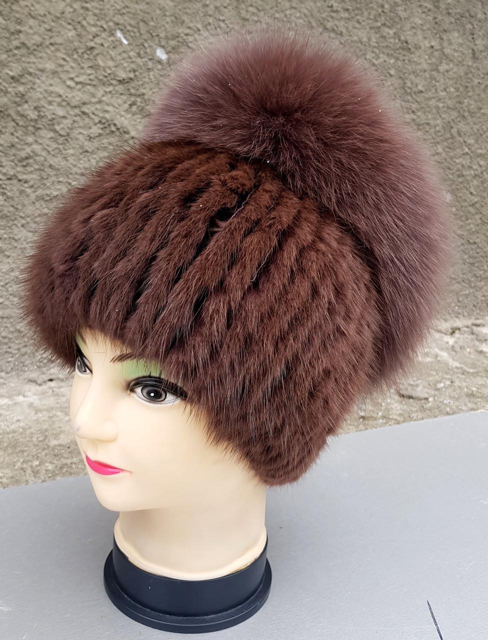 Женская меховая шапка KlausОндатра Маркиза с бубоном из Песца  55-58 Светло-коричневый(18/75)