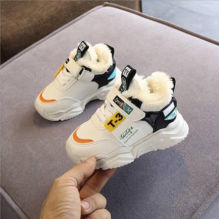 Демисезонные детские кроссовки утепленные на меху 21-30 р.белые, фото 2