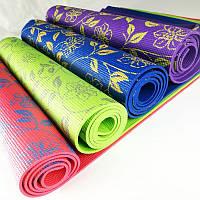 Коврик для йоги мат-каремат для растяжки и фитнеса PVC синий