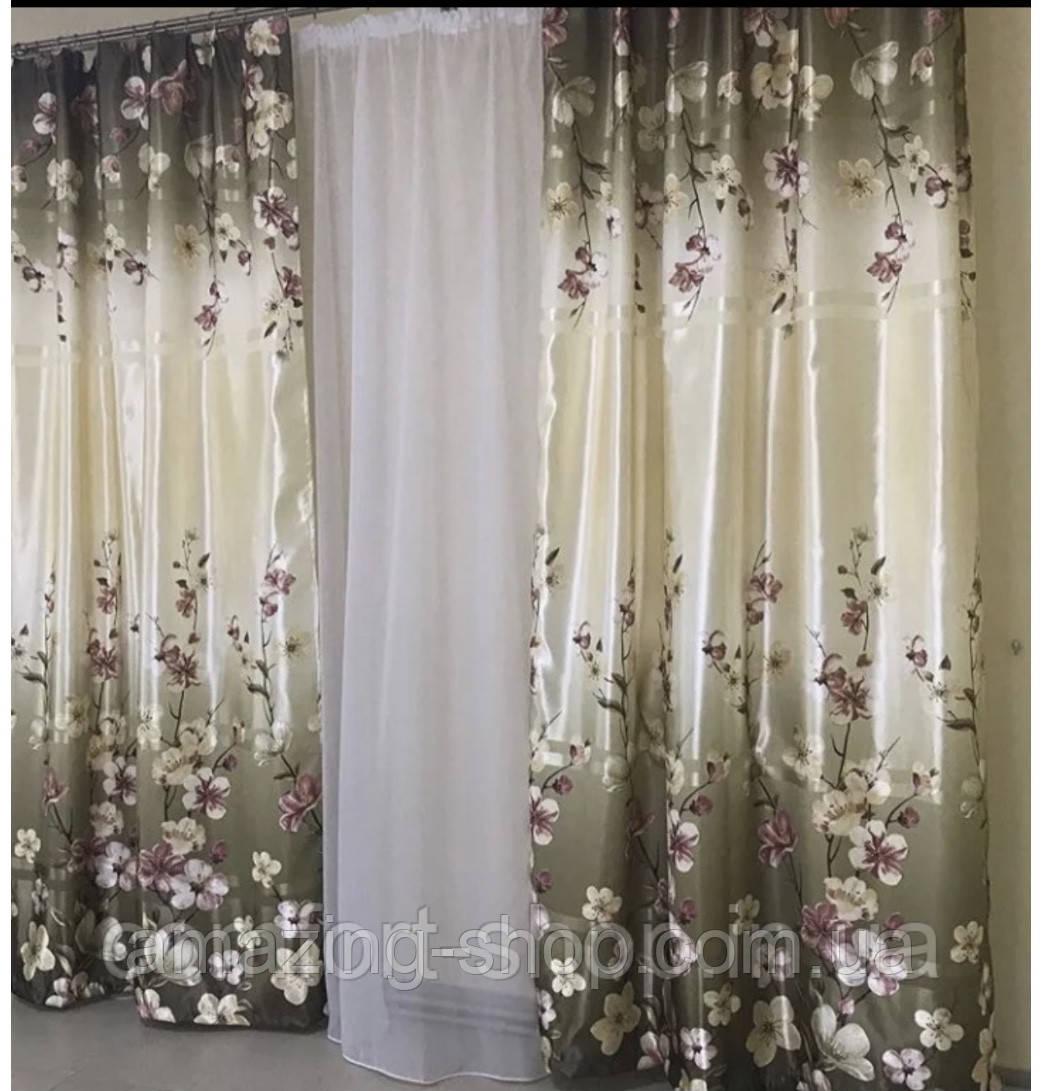 """Готовий набір на вікно дві штори 1м + тюль 3м  Комплект з білим тюлем Тюль - біла """"шифон""""   Штори в квіти  """