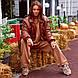 Кожаная теплая куртка Рептилия тренд 2020 коричневая, фото 2