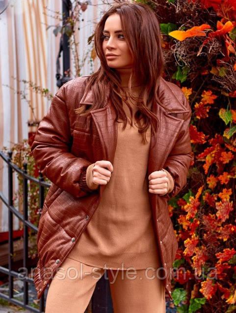 Кожаная теплая куртка Рептилия тренд 2020 коричневая