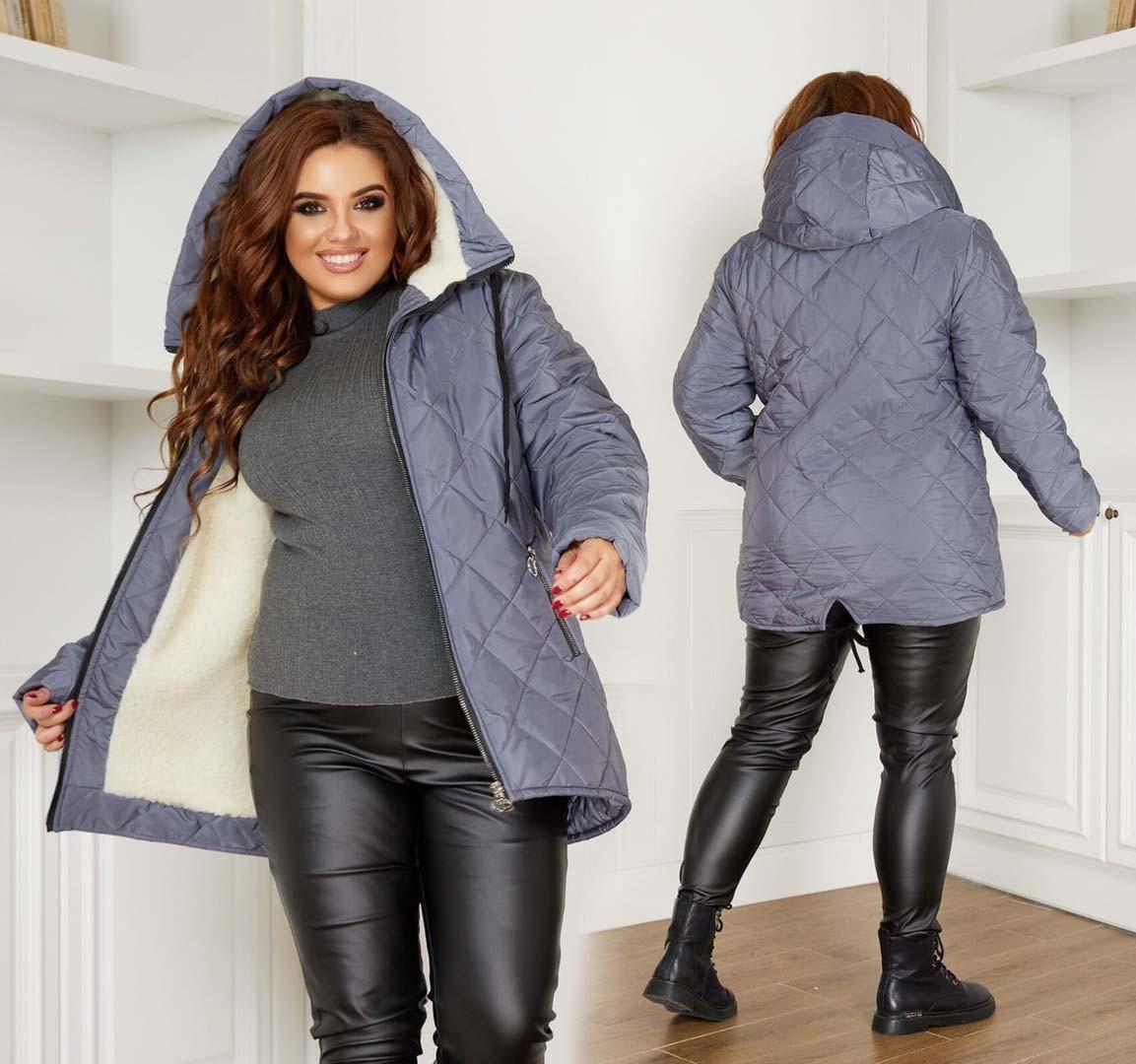 """Зимняя женская куртка в больших размерах """"Парка Стёганка Мех"""" в расцветках (104-234)"""