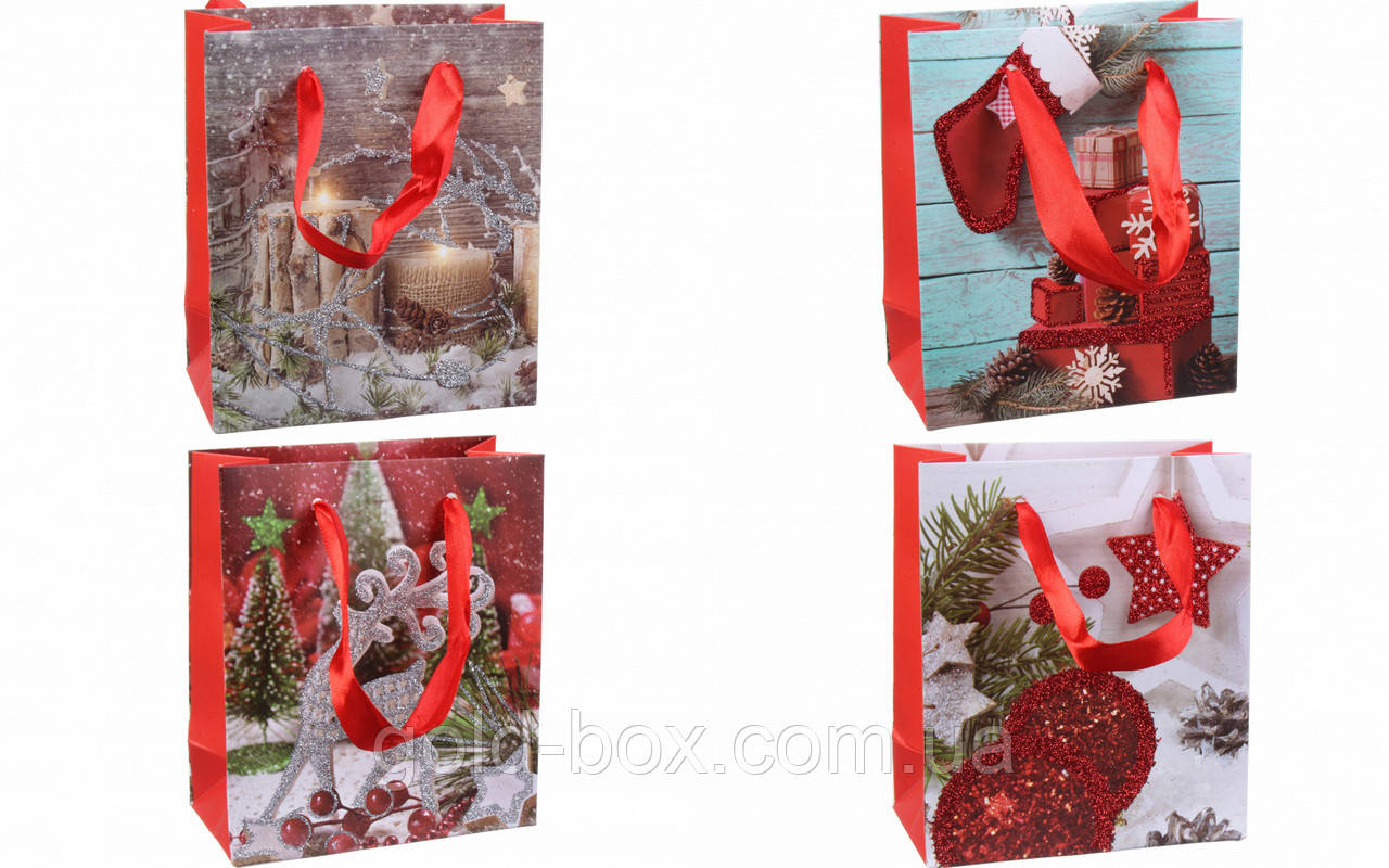 Пакети новорічні оптом 4 види / 12 шт упаковка