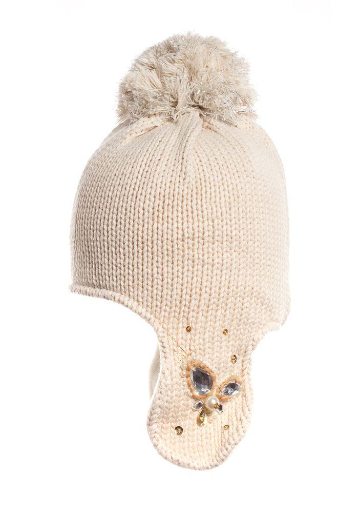 Красивая стильная шапочка, утепленная флисом, с закрытыми ушами и бумбоном, Польша.