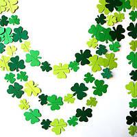 Гирлянда бумажная Листья 8 и 6 см Зеленая Микс 5 метров