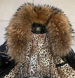 Стильная женская куртка чёрного цвета  с натуральным мехом, фото 2