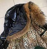 Стильная женская куртка чёрного цвета  с натуральным мехом, фото 4