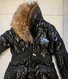 Стильная женская куртка чёрного цвета  с натуральным мехом, фото 5