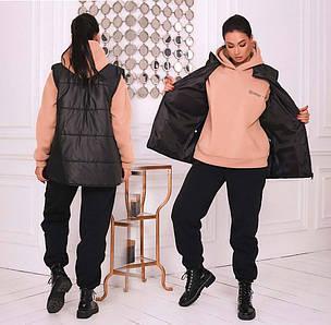 """Жіночий теплий спортивний костюм-трійка у батальних розмірах """"LOVE"""" в кольорах (014-7055-1)"""