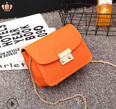 Стильный мини клатч на цепочке в стиле Фурла (0154) Оранжевый
