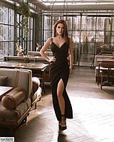 Роскошное однотонное вечернее длинное платье в пол из костюмной ткани с разрезом р: 42, 44, 46, 48 арт 17358