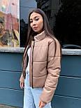 Женская кожаная куртка из экокожи на утеплителе, воротник- стойка, на молнии vN10605, фото 2