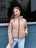 Женская кожаная куртка из экокожи на утеплителе, воротник- стойка, на молнии vN10605, фото 4